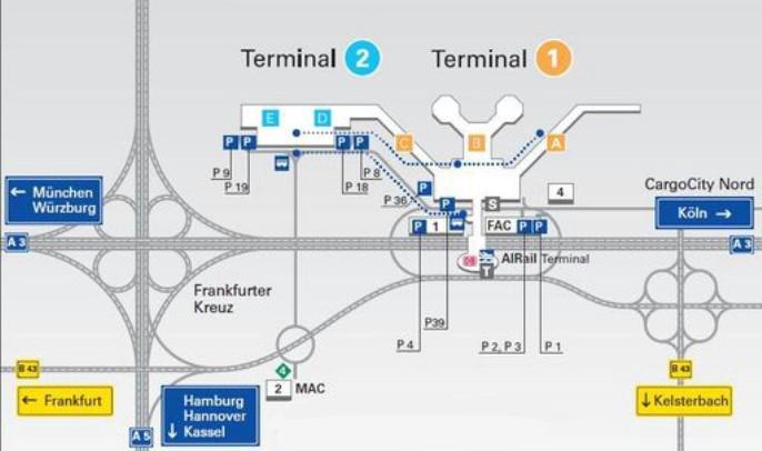 Схема аэропорта Франкфурта (Германия) - схемы терминалов Франкфурт-на-Майне.
